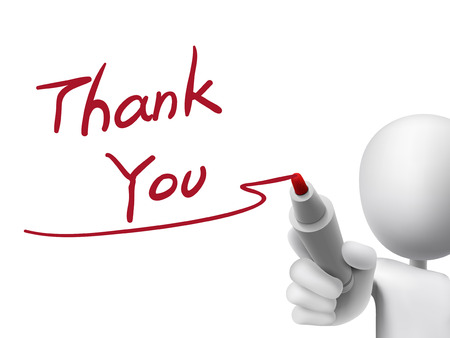 Photo pour thank you words written by 3d man over transparent board - image libre de droit