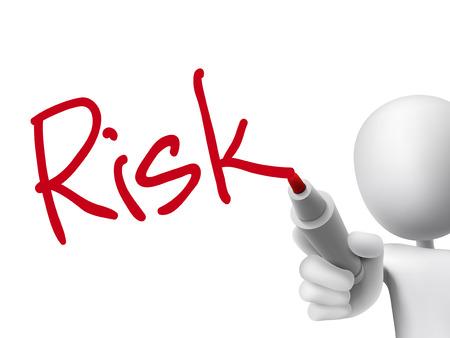 Illustration pour risk word written by 3d man over transparent board - image libre de droit