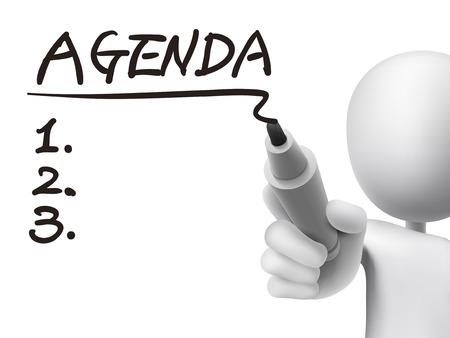 Illustration pour agenda word written by 3d man over transparent board - image libre de droit