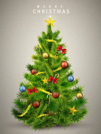 Illustration pour beautiful decorated Christmas tree isolated on grey background - image libre de droit