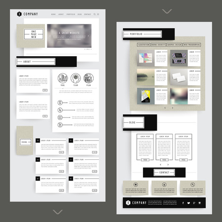 Ilustración de collage one page website template design with corrugated paper elements - Imagen libre de derechos