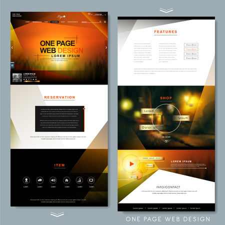 Illustration pour modern one page website template design with blurred background - image libre de droit