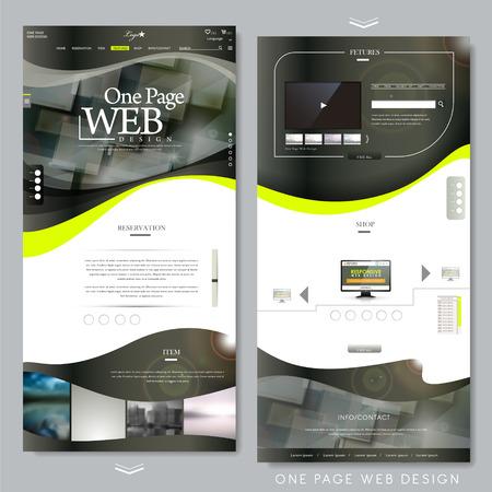 Illustration pour one page website template design in technical style - image libre de droit