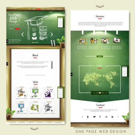Illustration pour one page website template design with education concept - image libre de droit