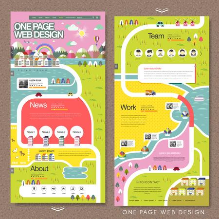 Ilustración de lovely one page website template in flat design - Imagen libre de derechos