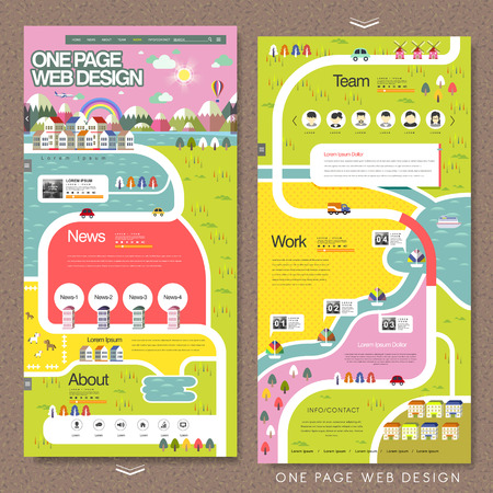 Illustration pour lovely one page website template in flat design - image libre de droit