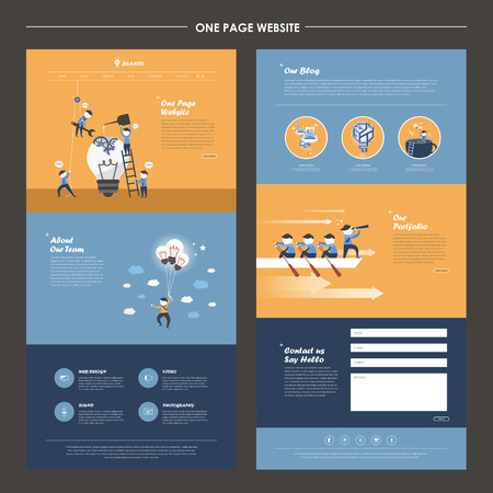 Ilustración de one page website template design with teamwork concept - Imagen libre de derechos