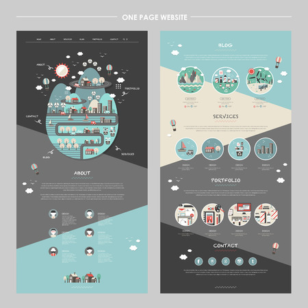 Illustration pour lovely one page website template with planet element in flat design - image libre de droit