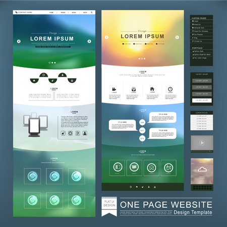 Photo pour one page website template design in blurred background - image libre de droit