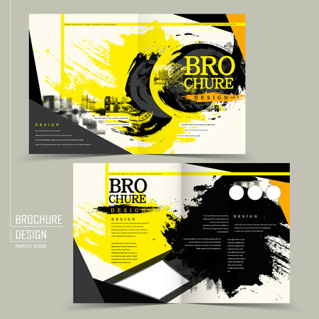 Ilustración de stylish half-fold brochure design in black and yellow - Imagen libre de derechos