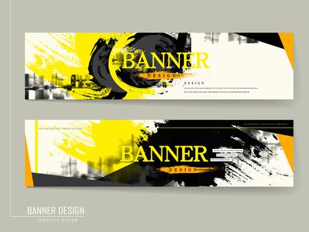 Photo pour stylish banner template design in black and yellow - image libre de droit