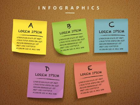 Ilustración de education concept infographic template design with sticky notes element - Imagen libre de derechos