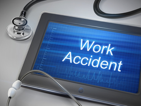 Illustration pour work accident words displayed on tablet with stethoscope over table - image libre de droit
