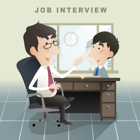 Illustration pour job interview scene in flat design style - image libre de droit