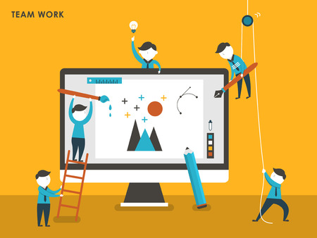 Illustration pour collective creation concept in flat design style - image libre de droit