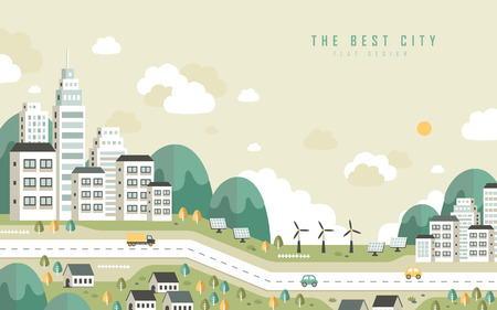 Illustration pour the best city scenery in flat design style - image libre de droit