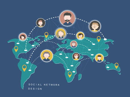 Illustration for social network design concept in flat style - Royalty Free Image