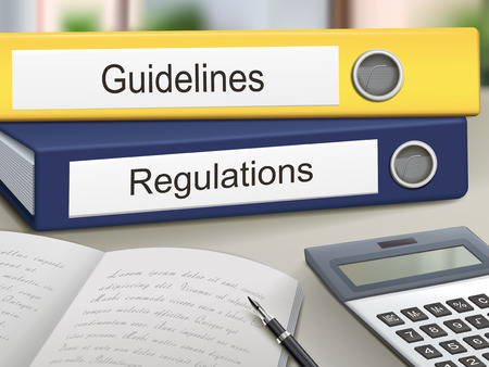 Illustration pour guidelines and regulations binders isolated on the office table - image libre de droit
