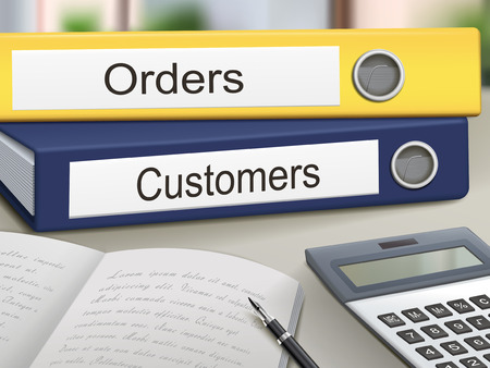 Illustration pour orders and customers binders isolated on the office table - image libre de droit