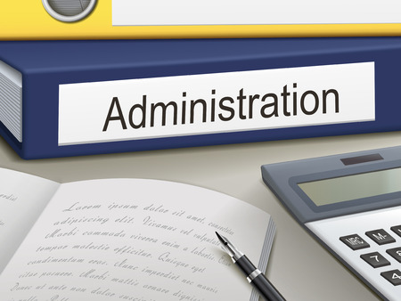 Illustration for administration binders isolated on the office table - Royalty Free Image