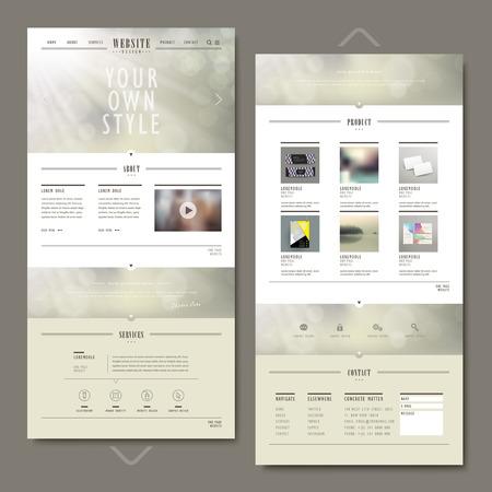 Illustration pour one page website template design with blurred background - image libre de droit