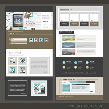 Illustration pour modern technology one page website design template - image libre de droit