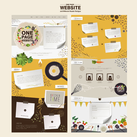 Illustration pour lovely kitchen scene one page website design template in flat - image libre de droit