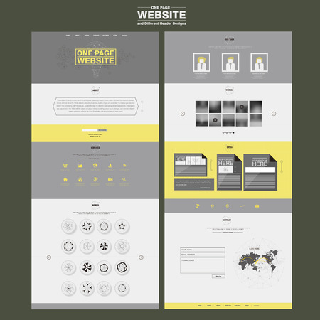 Illustration pour elegant one page website design template in flat style - image libre de droit