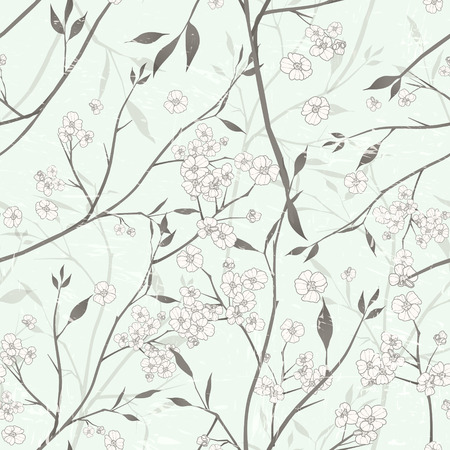 Illustration for elegant floral seamless pattern over green background - Royalty Free Image