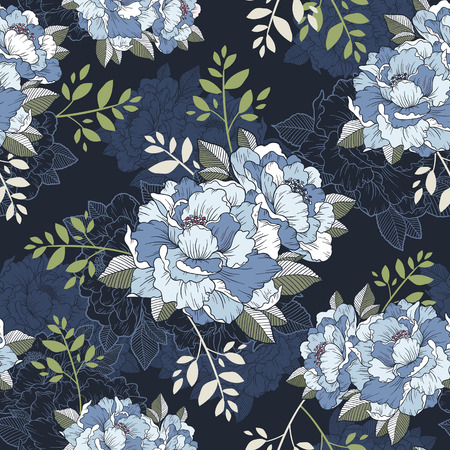 Illustration pour elegant peony seamless floral pattern background over blue - image libre de droit