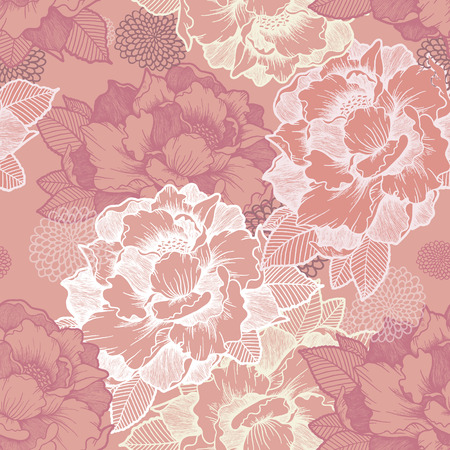 Ilustración de elegant peony seamless floral pattern background over pink - Imagen libre de derechos