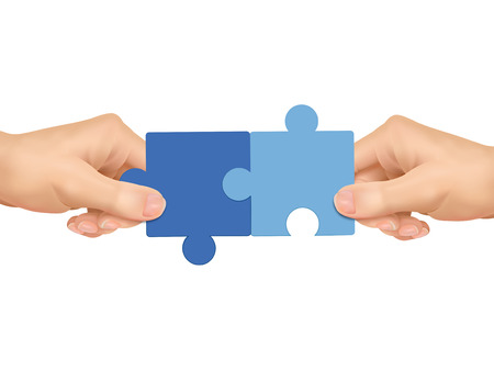 Illustration pour cooperation concept: hands holding jigsaw pieces over white background - image libre de droit