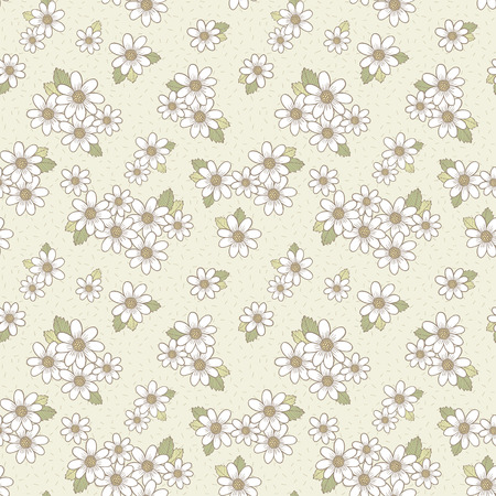Ilustración de adorable flower seamless pattern over beige background - Imagen libre de derechos