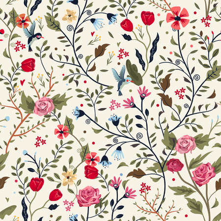 Illustration for colorful adorable seamless floral pattern over beige background - Royalty Free Image