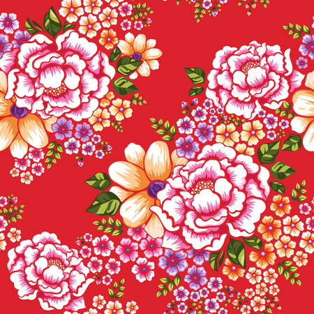 Illustration pour Taiwan Hakka culture floral seamless pattern over red - image libre de droit