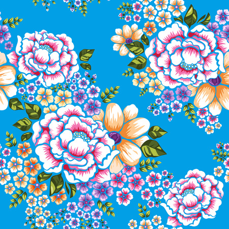Illustration for Taiwan Hakka culture floral seamless pattern over blue - Royalty Free Image