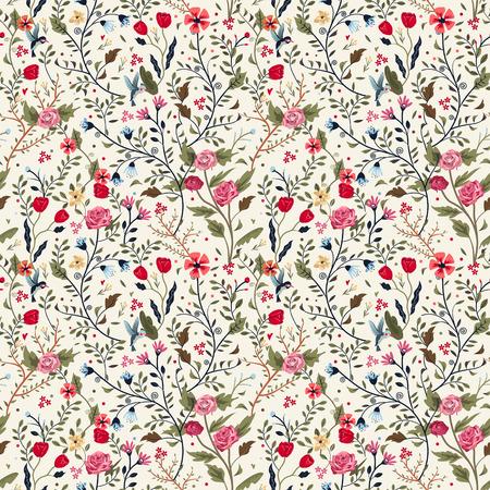 Illustration pour colorful adorable seamless floral pattern over beige background - image libre de droit