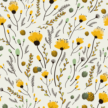 Illustration for lovely yellow flower seamless pattern over white background - Royalty Free Image