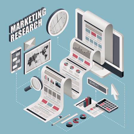 Illustrazione per flat 3d isometric marketing research illustration over blue background - Immagini Royalty Free