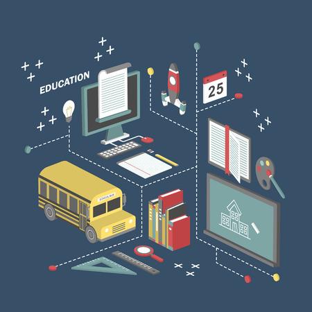 Ilustración de flat 3d isometric education concept illustration over blue background - Imagen libre de derechos