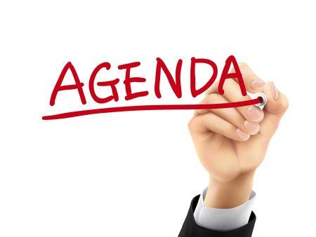 Illustration pour agenda word written by hand on a transparent board - image libre de droit