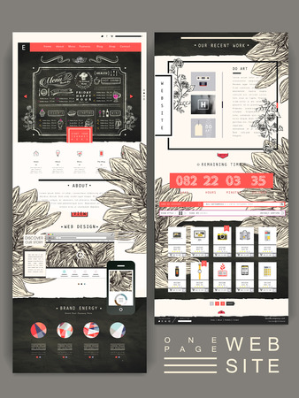 Illustration pour graceful one page website design template with hand drawn floral element - image libre de droit
