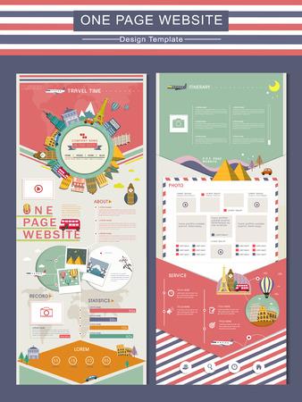 Ilustración de adorable travel concept one page website design template in flat - Imagen libre de derechos