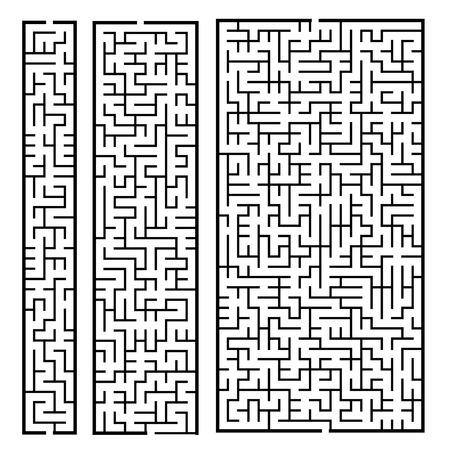 Ilustración de trendy rectangular labyrinth set isolated on white background - Imagen libre de derechos