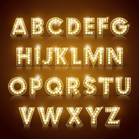 Illustration for modern lighting alphabet set isolated on brown background - Royalty Free Image