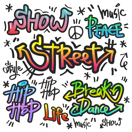 Illustration pour decorative street graffiti art in various color over white background - image libre de droit