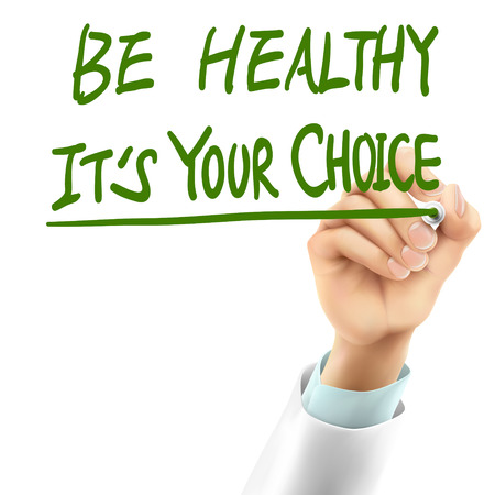 Foto de doctor writing be healthy it's your choice words in the air - Imagen libre de derechos