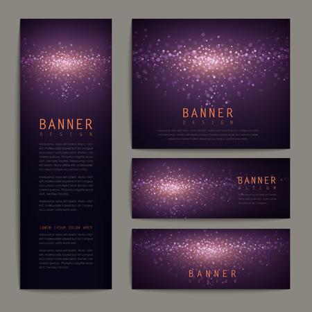 Ilustración de gorgeous glitter banner design set in elegant purple background - Imagen libre de derechos