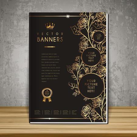 Illustration pour luxurious floral book cover template design in golden and black - image libre de droit