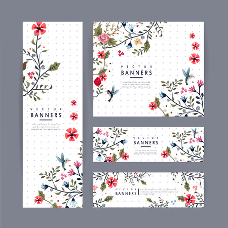 Ilustración de graceful banner template design with lovely floral pattern over purple spotted white background - Imagen libre de derechos
